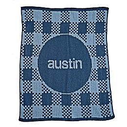 Gingham Stroller Blanket in Blue