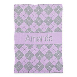 Argyle Name Stroller Blanket in Lilac