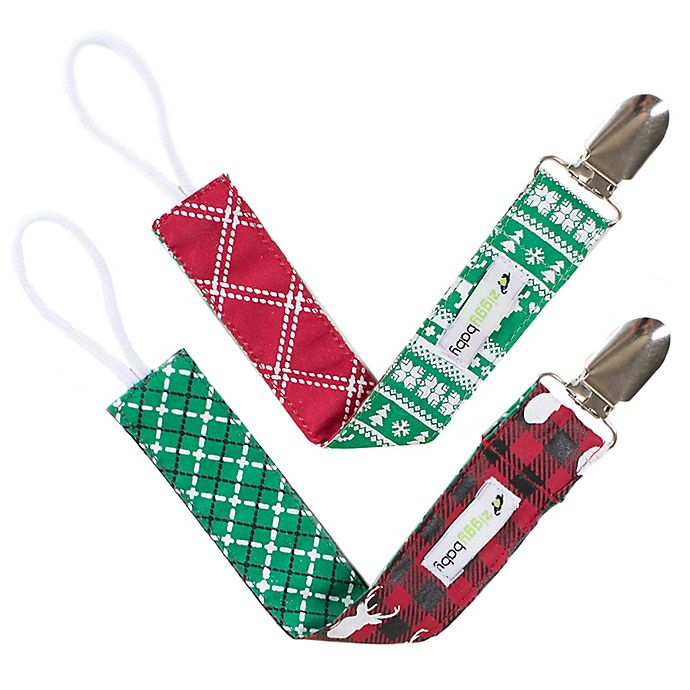 Alternate image 1 for Ziggy Baby™ 2-Pack Holiday Lodge Pacifier Clips
