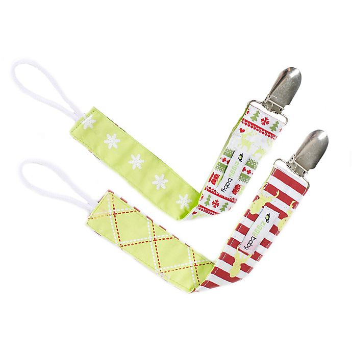 Alternate image 1 for Ziggy Baby™ 2-Pack Merry & Bright Pacifier Clips