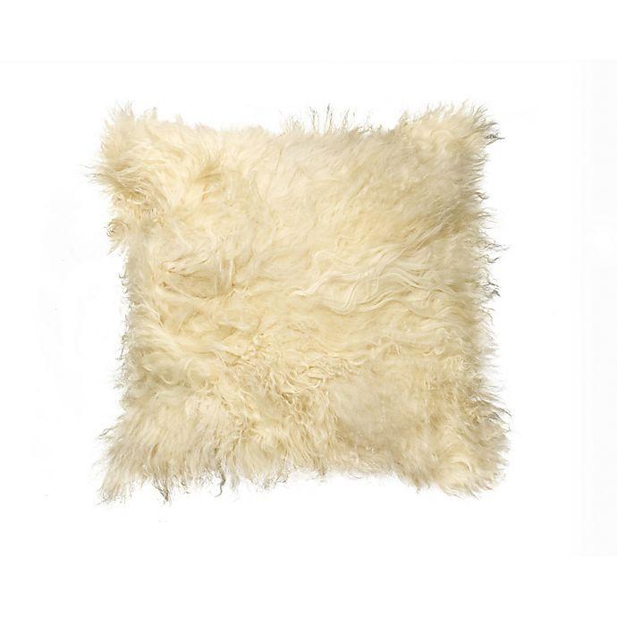 Alternate image 1 for Natural 100% Sheepskin Mongolian Square Throw Pillow