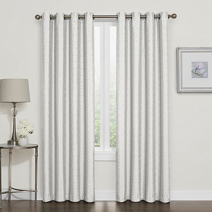 buy darcy 108 inch room darkening grommet top window curtain panel in white from bed bath beyond. Black Bedroom Furniture Sets. Home Design Ideas