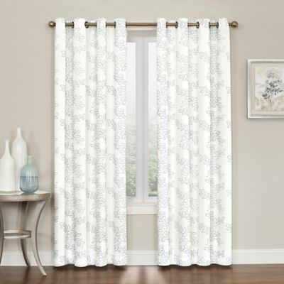 Brielle Embroidery Grommet Top Window Curtain Panel Bed