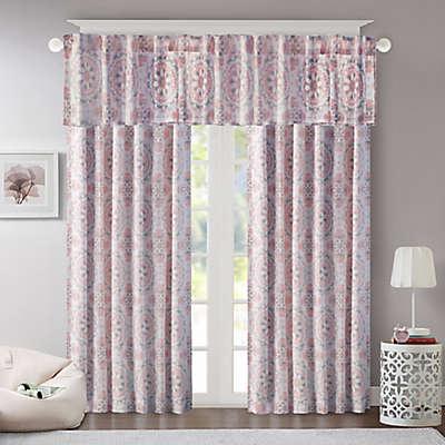 Regency Heights Penelope Medallion Room-Darkening Window Curtain Panel and Valance