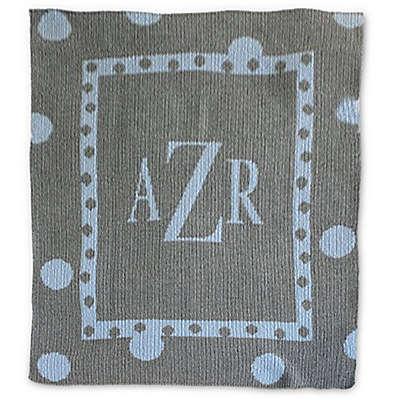 Butterscotch Blankees Large Polka Dot Knit Stroller Blanket in Grey/Blue