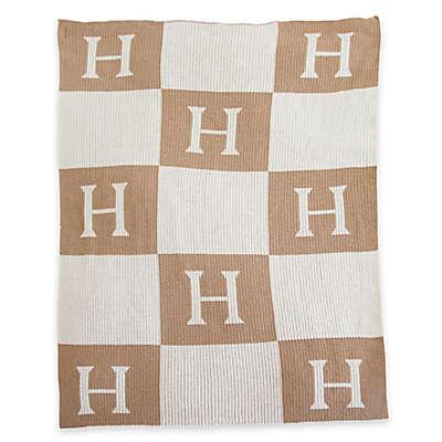 Initial Blocks Stroller Blanket in Sand/White