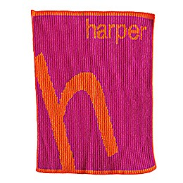 Slanted Letter Stroller Blanket in Orange