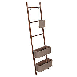 InterDesign® Formbu Free Standing Closet Storage Ladder w/Baskets & Hooks in Walnut/Bronze