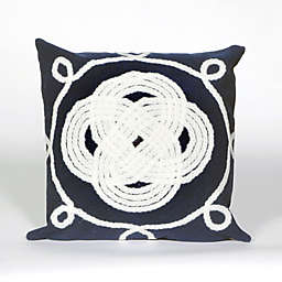 Liora Manne Visions II Ornamental  Knot Square Indoor/Outdoor Throw Pillow in Navy