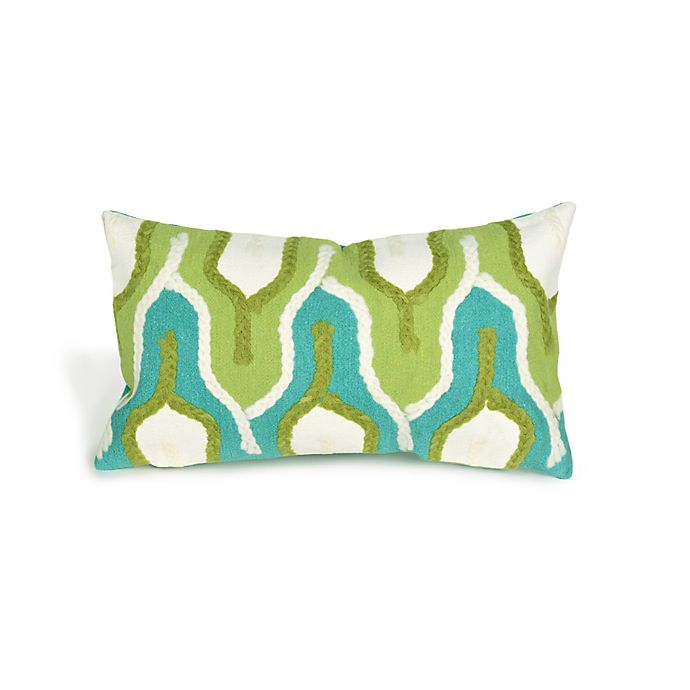 Alternate image 1 for Liora Manne Visions II Crochet Tower 12-Inch x 20-Inch Lumbar Pillow in Green