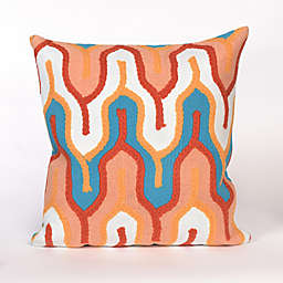 Visions III Crotchet Tower Square Indoor/Outdoor Throw Pillow in Peach