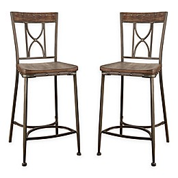 Hillsdale Paddock Counter Stools in Brushed Steel (Set of 2)