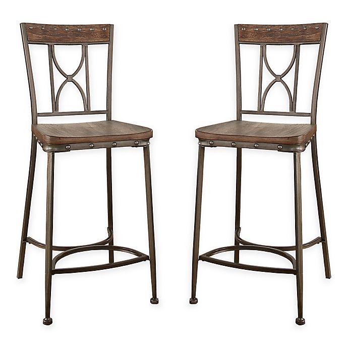 Wondrous Hillsdale Paddock Counter Stools In Brushed Steel Set Of 2 Creativecarmelina Interior Chair Design Creativecarmelinacom