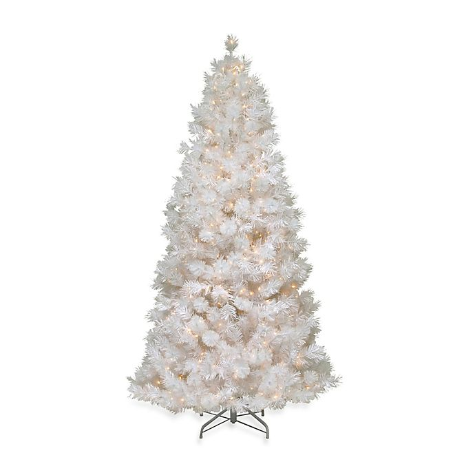 Alternate image 1 for National Tree Company 7.5-Foot Wispy Willow Grande White Slim Christmas Tree with White Lights