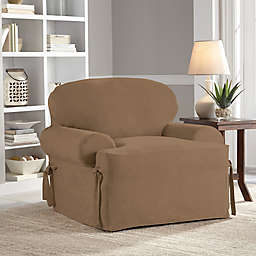 Perfect Fit® Smooth Suede Relaxed Fit T-Cushion Chair Slipcover