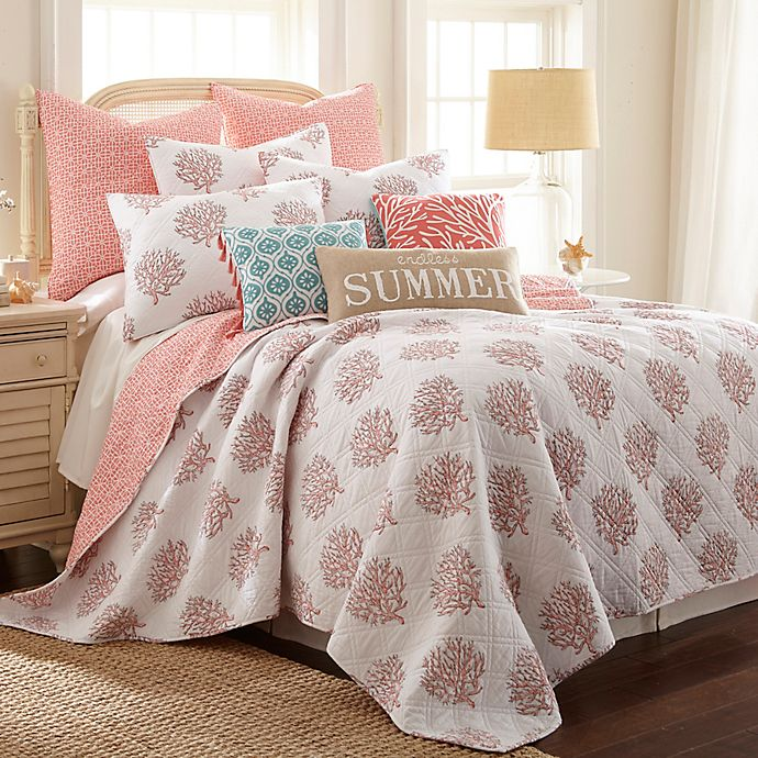 Alternate image 1 for Coral Breeze Reversible Twin Quilt in Coral