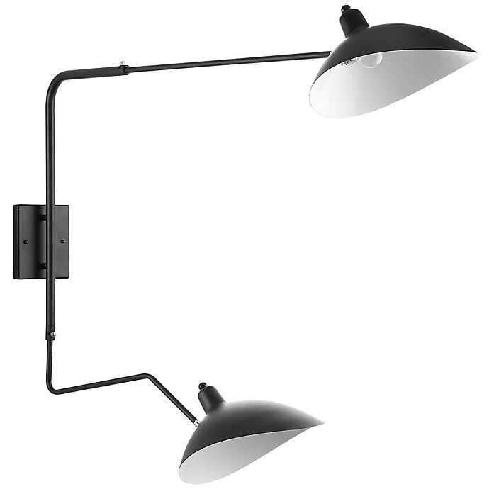 Alternate image 1 for Modway View Double-Headed Wall Lamp in Black