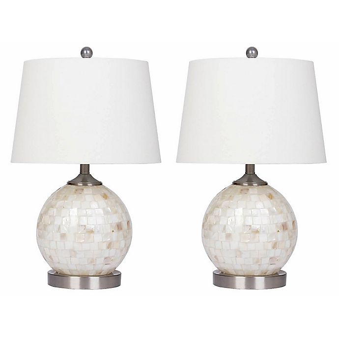 Alternate image 1 for Abbyson Mini-Round Table Lamp in Mother of Pearl