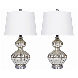 Abbyson Mercury Glass Table Lamp in Silver (Set of 2)