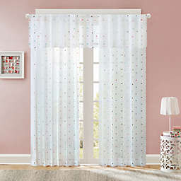 Regency Heights Nanni Embroidery Sheer Window Curtain Panel and Valance in White