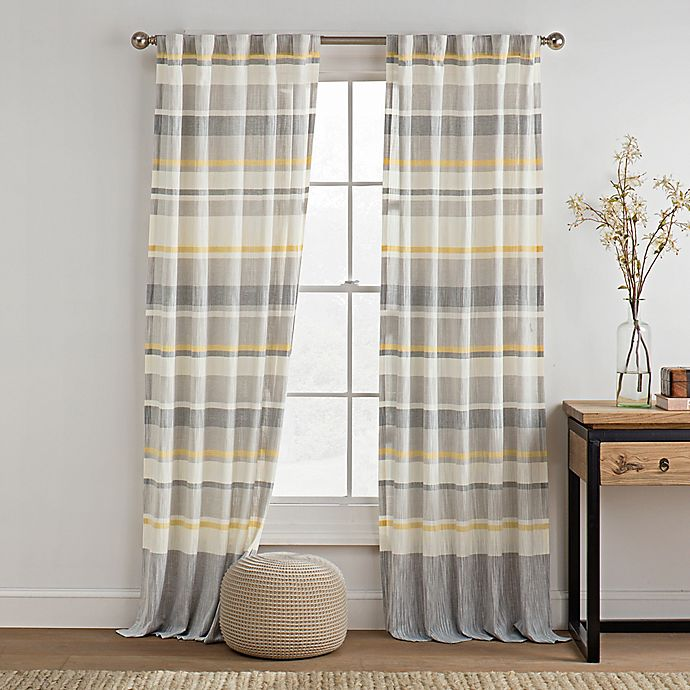 Alternate image 1 for KAS ROOM Logan 63-Inch Rod Pocket Back Tab Window Curtain Panel in Gold