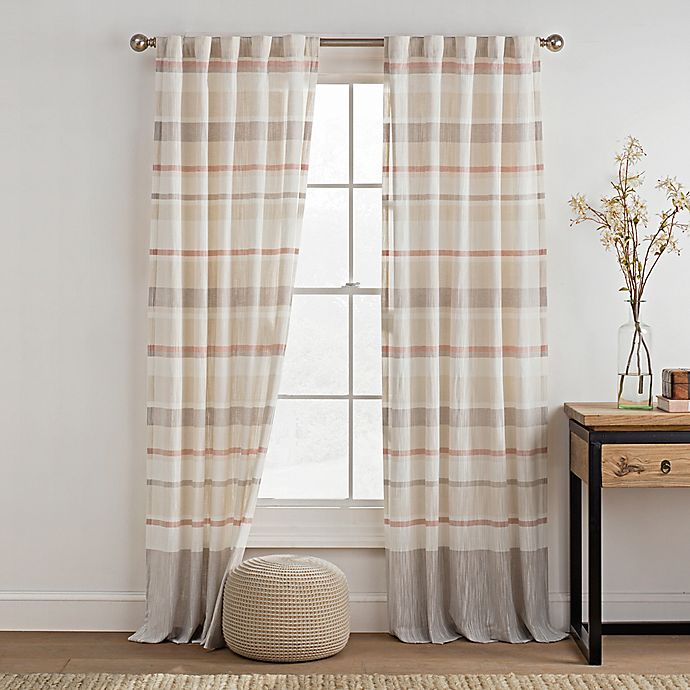 Alternate image 1 for KAS ROOM Logan 95-Inch Rod Pocket Back Tab Window Curtain Panel in Coral