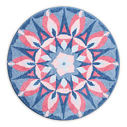 Grund Mandala Princess Designer Round Bath and Accent Rug in Pink/Blue