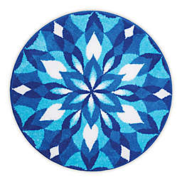 Grund Mandala Ice Castle Designer Round Bath and Accent Rug in Blue