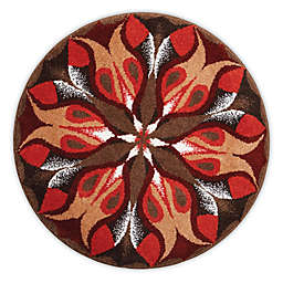 Grund Passion Designer Mandala Round Bath and Accent Rug in Red/Brown