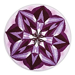 Grund Purple Rain Designer Mandala Round Bath and Accent Rug in Purple