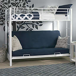 Forest Gate Twin over Futon Metal Bunk Bed in  White
