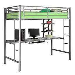 Forest Gate Riley Twin Metal Loft Bed with Workstation