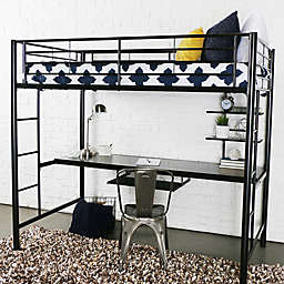 Forest Gate Riley Twin Metal Loft Bed with Workstation in Black