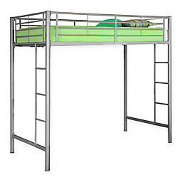 Forest Gate Riley Twin Metal Loft Bed in  Silver