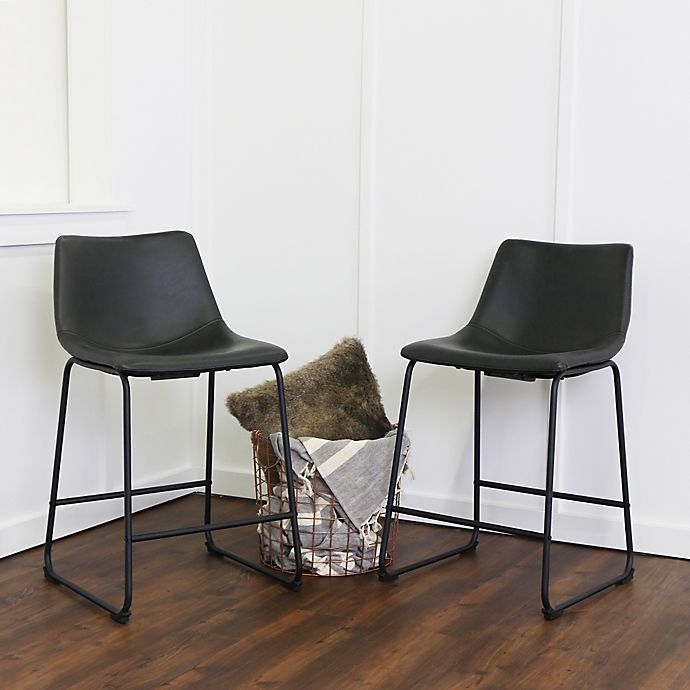 Alternate image 1 for Forest Gate Faux Leather Bar and Counter Stools (Set of 2)