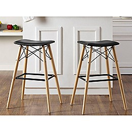 Forest Gate Retro Faux Leather Stools in Black