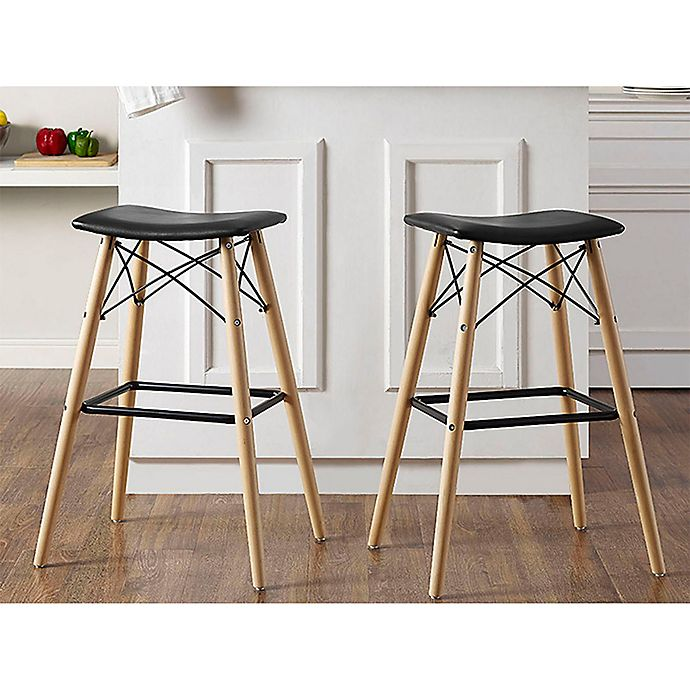 Alternate image 1 for Forest Gate Retro Faux Leather Stools in Black