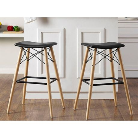 Forest Gate Retro Faux Leather Stools In Black Bed Bath