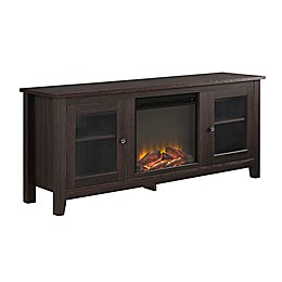 "Forest Gate 58"" Huntley Traditional Fireplace Wood Glass TV Stand"
