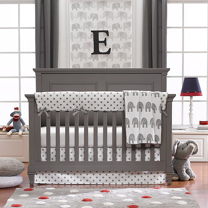 Alternate image 1 for Liz and Roo 4-Piece Grey Elephant Crib Bedding Set