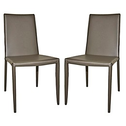 Moe`s Home Collection Leather Upholstered Dining Chairs in Dark Grey(Set of 2)