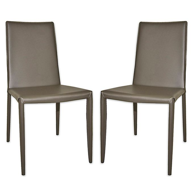 Moe S Home Collection Leather Upholstered Dining Chairs In Dark Grey