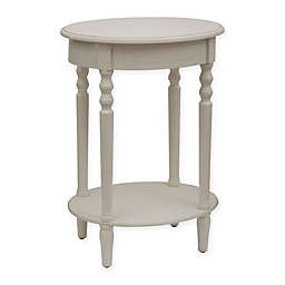Decor Therapy Oval Accent Table in Antique White
