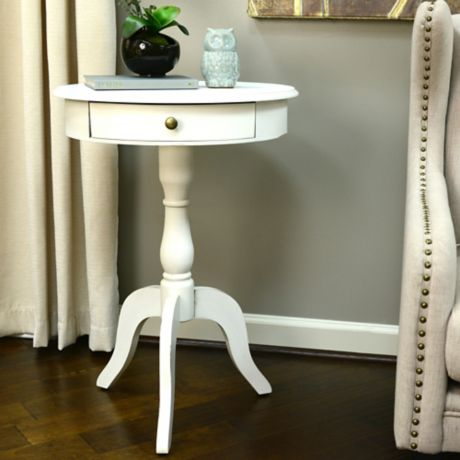 decor therapy round pedestal side table in white bed bath beyond. Black Bedroom Furniture Sets. Home Design Ideas