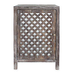 Decor Therapy Quatrefoil Mirror-Accented End Table in Grey