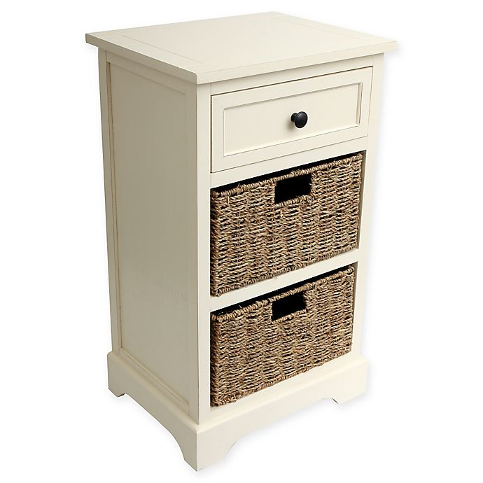 Decor Therapy Two Basket End Table In Antique White Bed