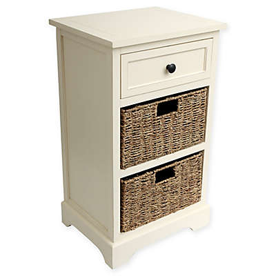 Decor Therapy Two-Basket End Table in Antique White