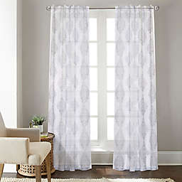 Talia Rod Pocket/Back Tab Sheer Window Curtain Panel in Grey