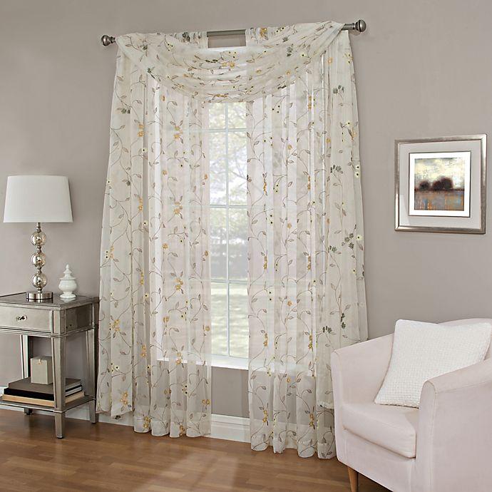 Meadow Embroidery Sheer Window Curtain Panel