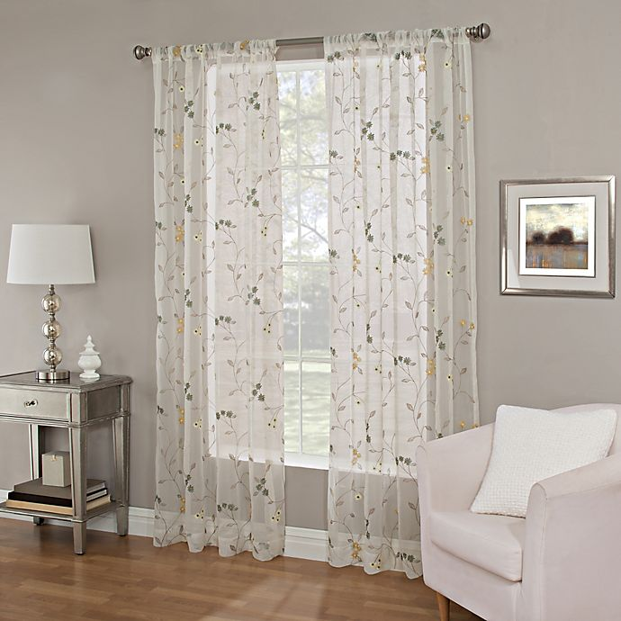 Alternate image 1 for 63-Inch Meadow Embroidery Sheer Window Curtain Panel in Blue